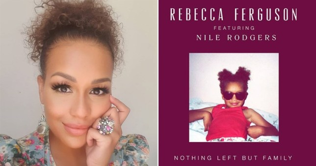 Rebecca Ferguson selfie alongside single cover of Nothing Left But Family featuring baby picture of her