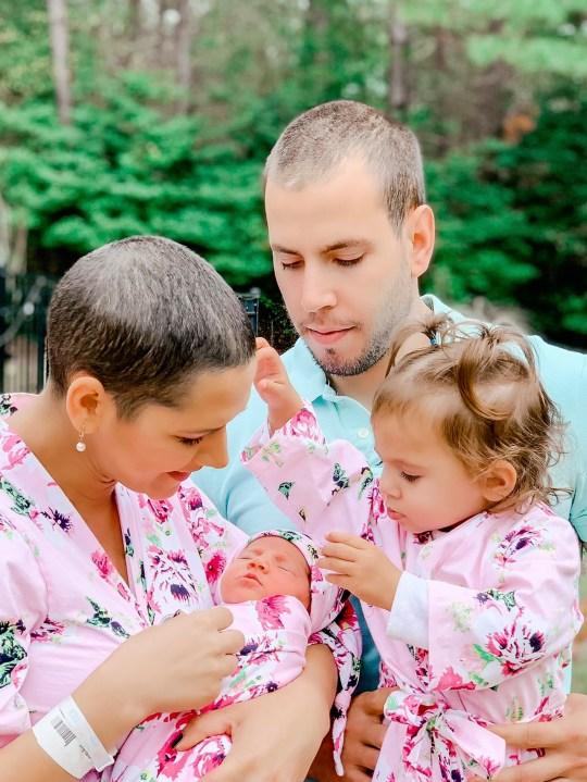 Sangela Martins, 34, with husband Jay, 30, daughter Maya, 1, and baby Ava