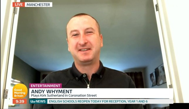Mandatory Credit: Photo by ITV/REX (10665342be) Andy Whyment 'Good Morning Britain' TV Show, London, UK - 01 Jun 2020