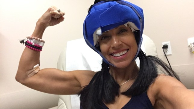 Tricia Totten pictured in the hospital while battling cancer