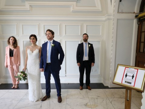 Couple have socially distanced wedding with just six people present