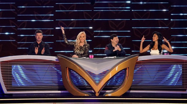THE MASKED SINGER: L-R: Panelists: Robin Thicke, Jenny McCarthy, Ken Jeong and Nicole Scherzinger. THE MASKED SINGER premieres Wednesday, Sept. 25 (8:00-10:00 PM ET/PT) on FOX. (Photo by FOX Image Collection via Getty Images)