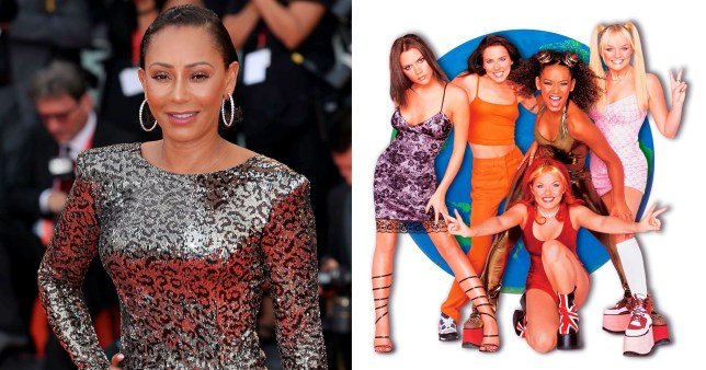 Mel B pictured separately alongside promo picture of the Spice Girls.