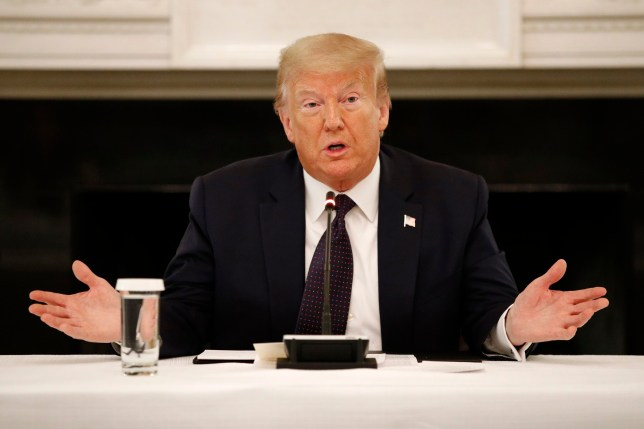 President Donald Trump speaks during a roundtable discussion with law enforcement officials, Monday, June 8, 2020, at the White House in Washington. (AP Photo/Patrick Semansky)