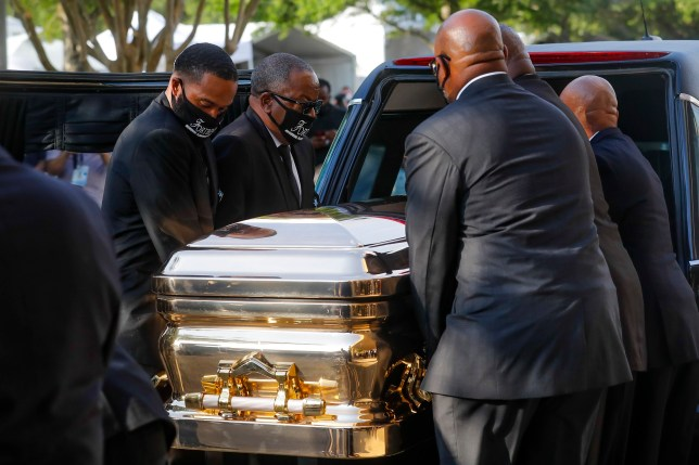 George Floyd's coffin arrives in Houston