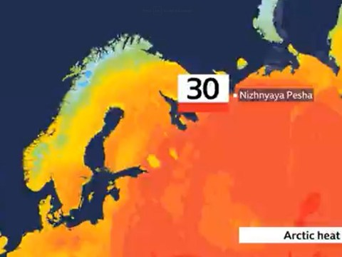 Temperature in the Arctic Circle reached 30C yesterday