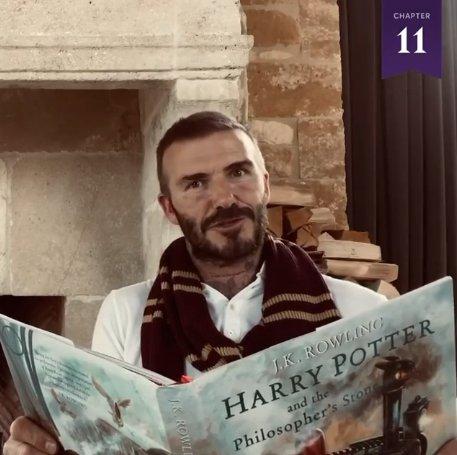 David Beckham Becks reads Harry Potter