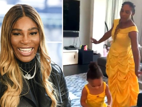 Serena Williams and Olympia recreate Beauty and the Beast scene in Belle's dress and it's magical