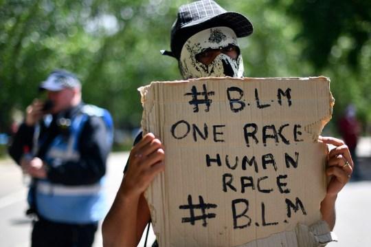 A Black Lives Matter protester