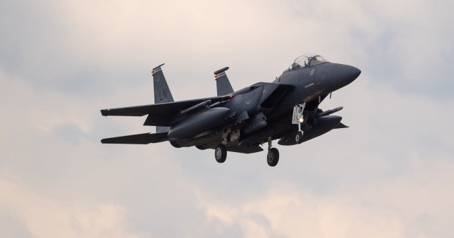 An F15 fighter jet landing at RAF Lakenheath, Suffolk, after an American fighter jet crashed into the North Sea while on a training exercise off the north-east coast of England. PA Photo. Picture date: Monday June 15, 2020. The US Air Force F-15C Eagle, from the 48th Fighter Wing based at RAF Lakenheath in Suffolk, crashed at around 9.40am on Monday with one pilot on board. See PA story DEFENCE F15. Photo credit should read: Joe Giddens/PA Wire