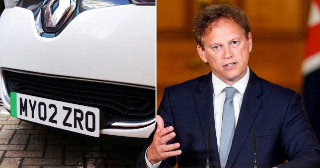 Composite image of green number plate and Transport Secretary Grant Shapps