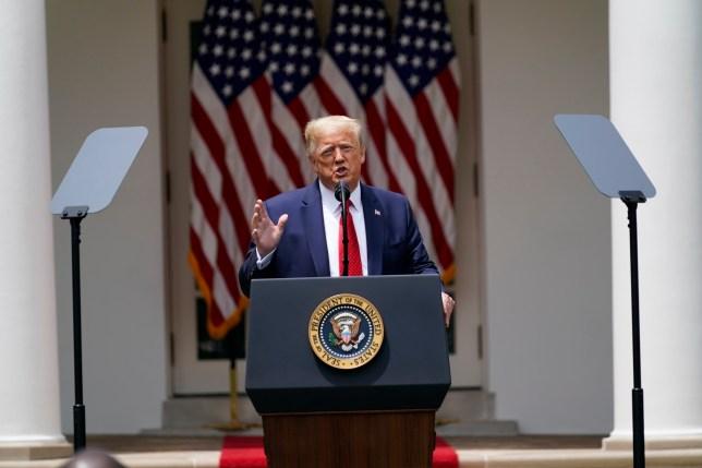 Photo of Donald Trump giving speech in White House rose garden
