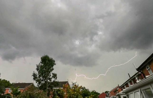 Screengrab taken from video of lightning strikes above Liverpool