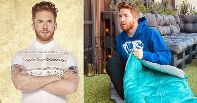 Neil Jones pictured on Strictly Come Dancing and in a sleeping bag
