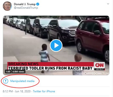 Screen grab of Donald Trump tweet that was flagged as 'manipulated media'