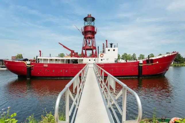 The lightship is accessible by a footbridge.