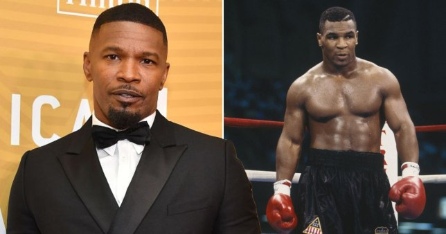 Jamie Foxx pictured separately alongside Mike Tyson in boxing ring