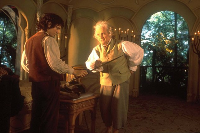 Ian Holm as Bilbo Baggins in Lord of The Rings.