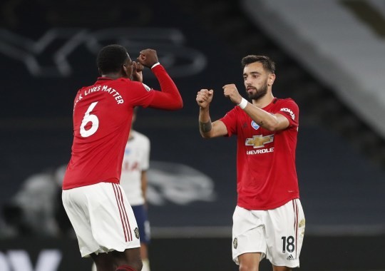 Paul Pogba and Bruno Fernandes of Manchester United