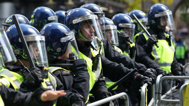 Police in riot gear at protests in London