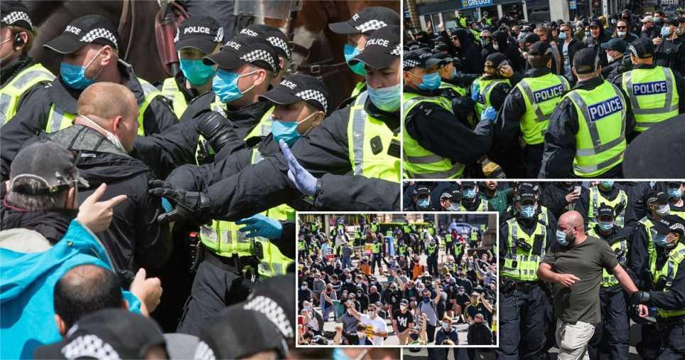 Police 'kettle' activists during anti-racism protest called by the Stand Up To Racism in Glasgow, Scotland, Britain, 20 June 2020.