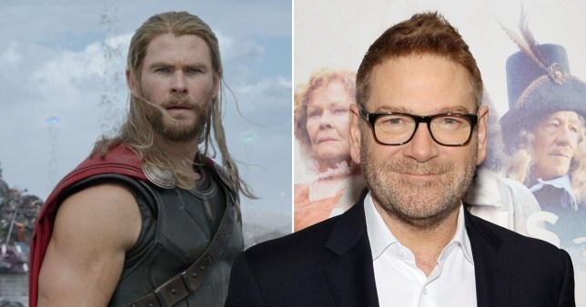 Chris Hemsworth pictured as Thor alongside picture of director Kenneth Branagh