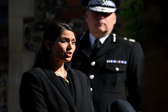 READING, ENGLAND - JUNE 22: Home Secretary, Priti Patel makes a statement to the media at Forbury Gardens on June 22, 2020 in Reading, England. Khairi Saadallah, a 25-year-old refugee from Libya, was arrested on Saturday evening suspected of stabbing three people to death in Forbury Gardens in the centre of Reading. Another three people are in a serious condition in hospital. One victim has been named as 36-year-old teacher, James Furlong. Police are treating the incident as terror-related. (Photo by Leon Neal/Getty Images) ***BestPix***