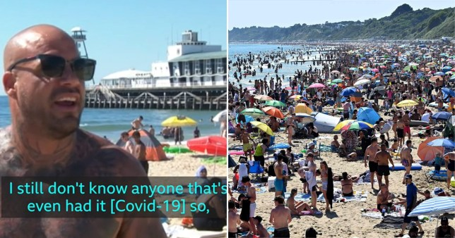 Beachgoer says 'I don't know anyone who's had coronavirus so in my eyes it doesn't matter' on day that 500,000 flocked to Bournemouth.