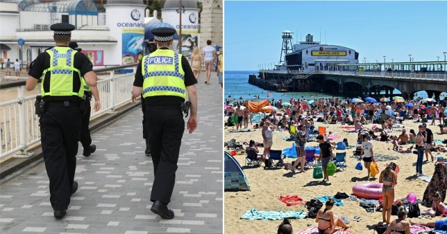 Composite image of packed beach and two police officers