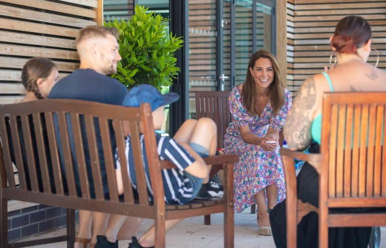 EMBARGOED: No onward transmission before 2100 BST Sat 27/6/2020. Not for publication before 2200 BST Sat 27/6/2020. The Duchess of Cambridge meets Sonny Saunders (unseen) and his family from left, sister Star, father Jordan, brother Hudson and mother Kelly, during a visit to The Nook in Framlingham Earl, Norfolk, which is one of the three East Anglia Children's Hospices (EACH). Sonny was diagnosed with a diffuse intrinsic pontine glioma, an aggressive and difficult-to-treat brain tumour, only a week or so after his sixth birthday in February. PA Photo. Picture date: Thursday June 25, 2020. The Duchess is the Royal Patron of the charity which offers care and support for children and young people with life-threatening conditions and their families across Cambridgeshire, Essex, Norfolk and Suffolk. See PA story ROYAL Kate. Photo credit should read: Joe Giddens/PA Wire