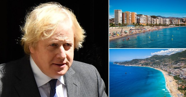 Composite image of Boris Johnson and holiday destinations