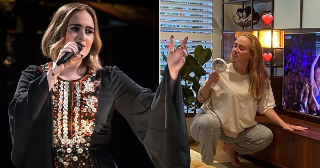 Adele pictured performing at Glastonbury alongside image of her insider her living room at LA home