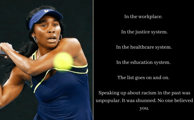 Venus Williams, the tennis player from the USA, shared a powerful Black Lives Matter post on Instagram