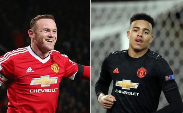 Manchester United legend Wayne Rooney and current striker Mason Greenwood look on