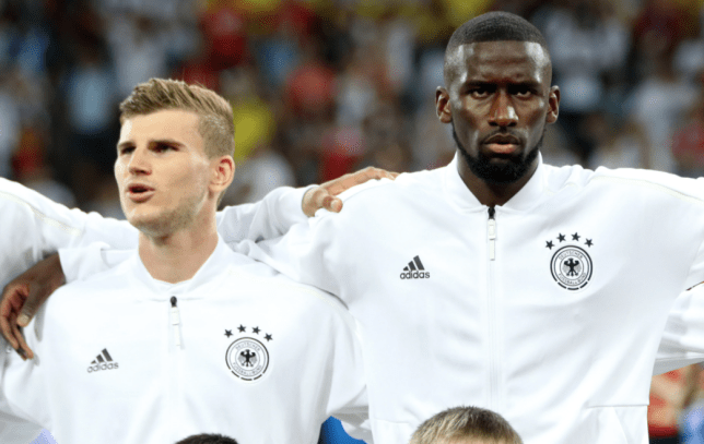 Chelsea signing Timo Werner sing Germany's national anthem ahead of the side's World Cup clash with Sweden