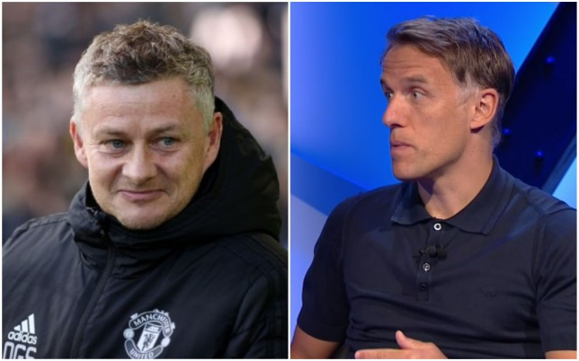 Manchester United manager Ole Gunnar Solskjaer and Phil Neville
