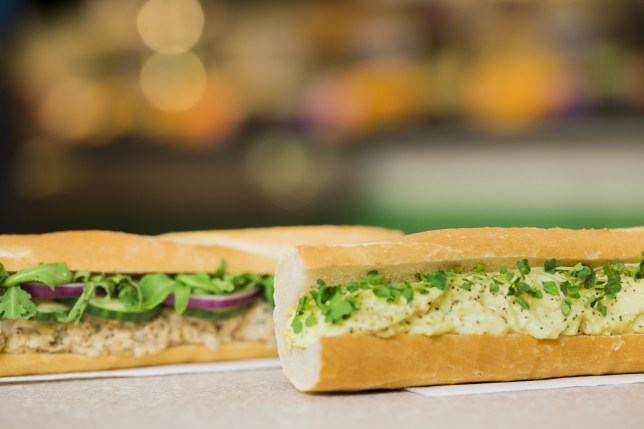 Two vegetarian baguettes from Pret A Manger