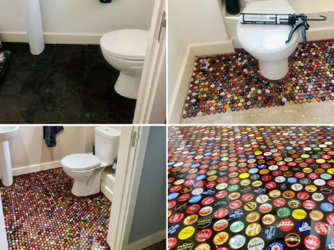 Couple save up tops from 2,800 bottles of beer to create new bathroom flooring