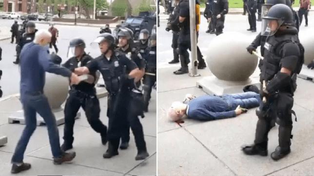 Des flics de Martin Gugino poussés au sol par des flics