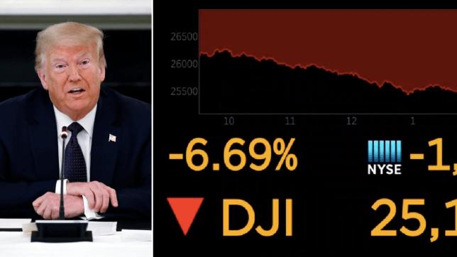 Photo of Donald Trump next to Dow Jones graph