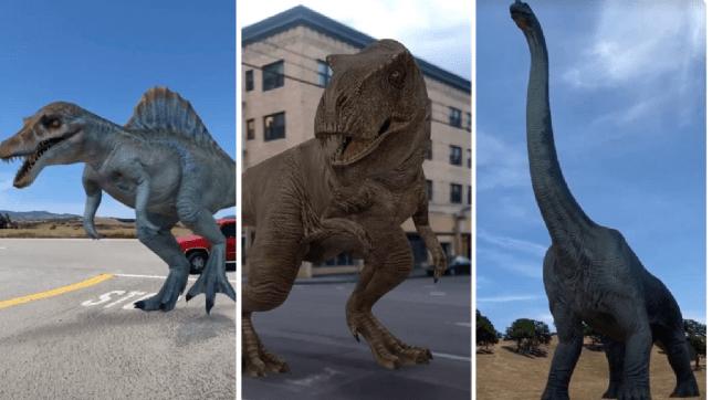 New Google AR dinosaurs in situ