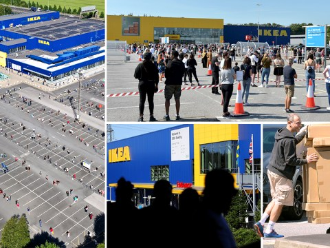 Ikea shoppers queue for four hours to buy flatpack furniture as 19 stores are reopened