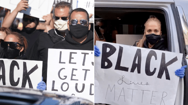 Jennifer Lopez and Alex Rodriguez protest