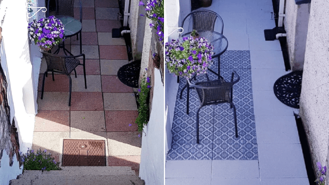 Mum creates homemade stencil and transforms garden patio into Mediterranean-style oasis for £60