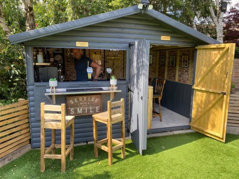 Couple transform garden shed into their own lockdown pub for £500