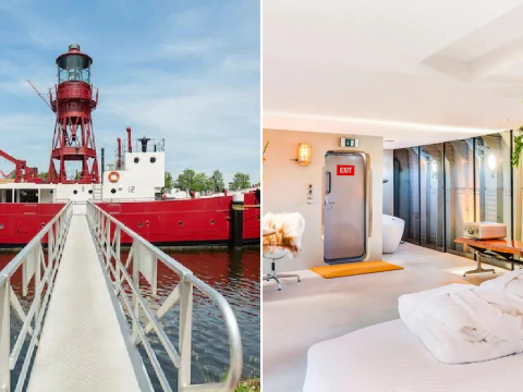 Ship that used to act as a lighthouse is transformed into a floating hotel in Amsterdam