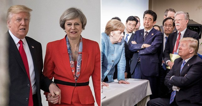 Donald Trump holding Theresa May's hand (left) and (left) and Trump speaking with German Chancellor Angela Merkel