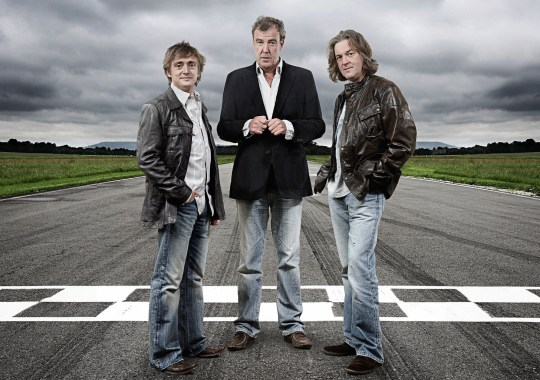 Television programme: Top Gear. Richard Hammond, Jeremy Clarkson and James May.