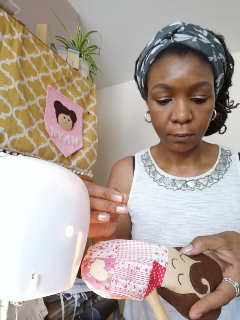Alisha Thimble & Doll sewing