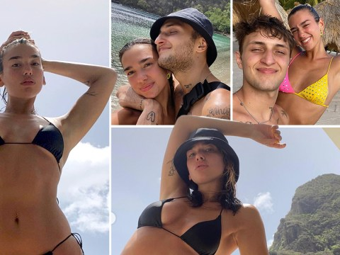 Dua Lipa spams us all with dreamy holiday pics from St Lucia as she and Anwar Hadid head back to US